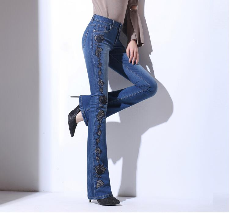 Fashion Autumn Embroidery High Waist Flare Jeans Pants Plus Size Stretch Skinny Jeans Women Wide Leg Slim Hip Denim Boot Cuts