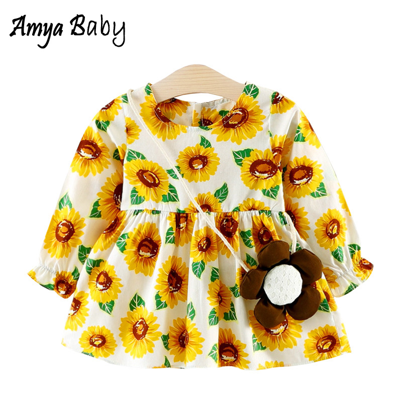 AmyaBaby 2018 Newborn Baby Girl Autumn Dress Long Sleeve Floral Infant Princess Party Dresses For Baby Girl Clothes With Bag
