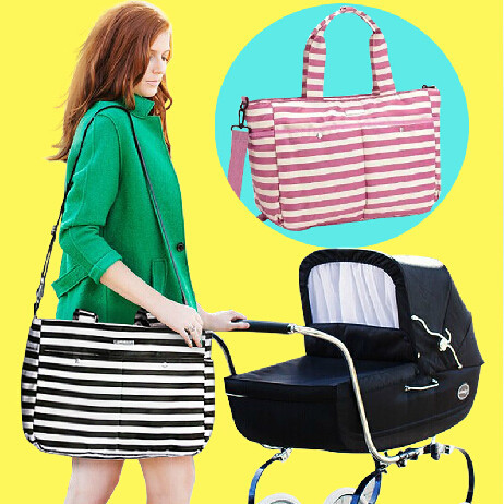 New Fashion stripe  style large capicity multifunction Mummy bag / diagonal / baby/ Mummy bags / nyappy bag can be hung stroller