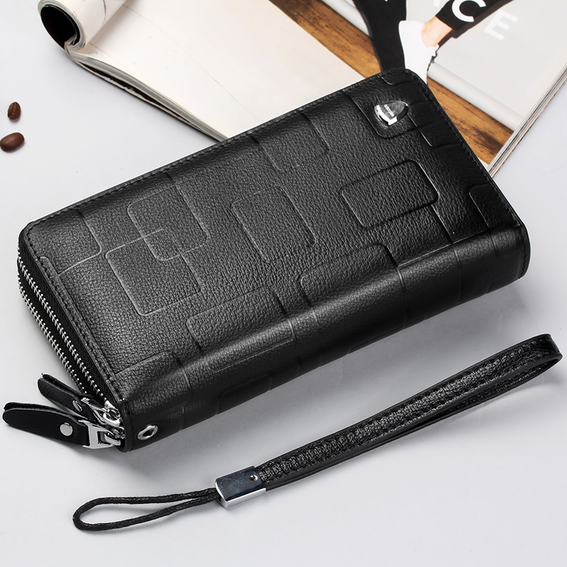 2018 Latest Men's Wallet Male Genuine Leather Long Purse Men Clutch Cow Leather Wallets Black Brown Man Handy Bags high quality brand design men luxury individuality vintage long wallet skull style genuine cow leather purse men s clutch handy phone bags