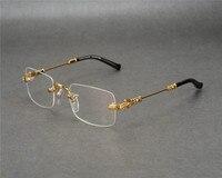 DOWER ME Rimless Fashion New Business Design Men Gold Silver Clear Lens Myopia Eyewear Frame Reading Eyeglasses JLS