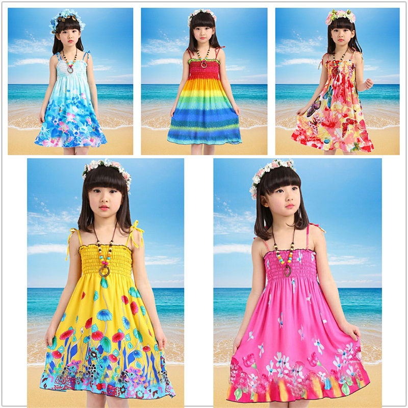 2019 ladies gown kids's seaside derss bohemian attire princess gown summer season Floral printing kids's clothes Attire, Low-cost Attire, 2019 ladies gown kids's seaside derss bohemian attire princess gown...