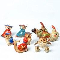 Ceramic owl combination hollow hen snail three piece American pastoral home decorations animal figurines miniature garden decor