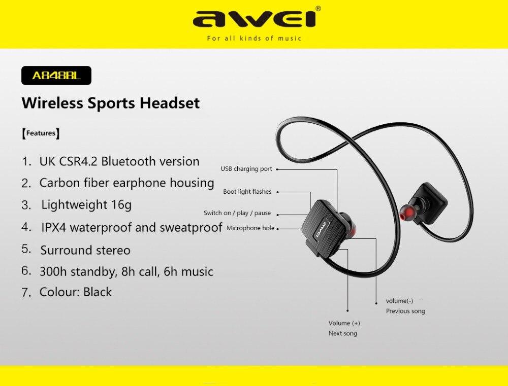 AWEI A848BL Wireless Sports Headset bluetooth wireless waterproof earphone with microphone Music Stereo Earbuds black headphones 5