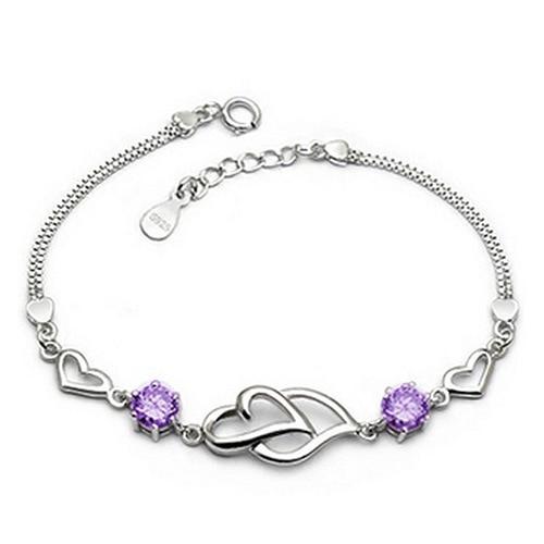 100% 925 Sterling Silver Romantic Double Love Heart Shiny Crystal Ladies`bracelets Jewelry Women Bracelet No Fade Drop Shipping by V Best