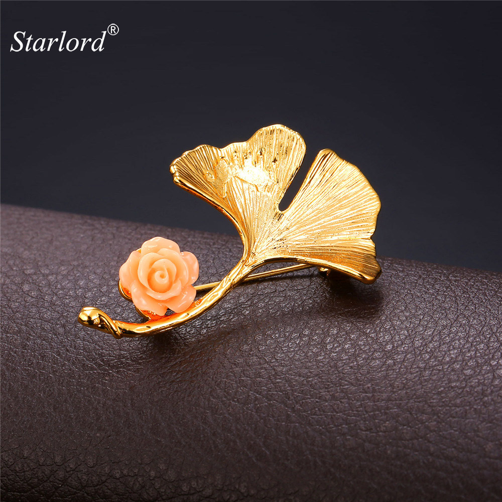 Starlord Gingko Leaf Brooch For Women Men Jewelry Yellow Gold Color Mk 6a Mcb Miniature Circuit Breaker Departments Diy At Bq Flower Lapel Pin Brooches B1937
