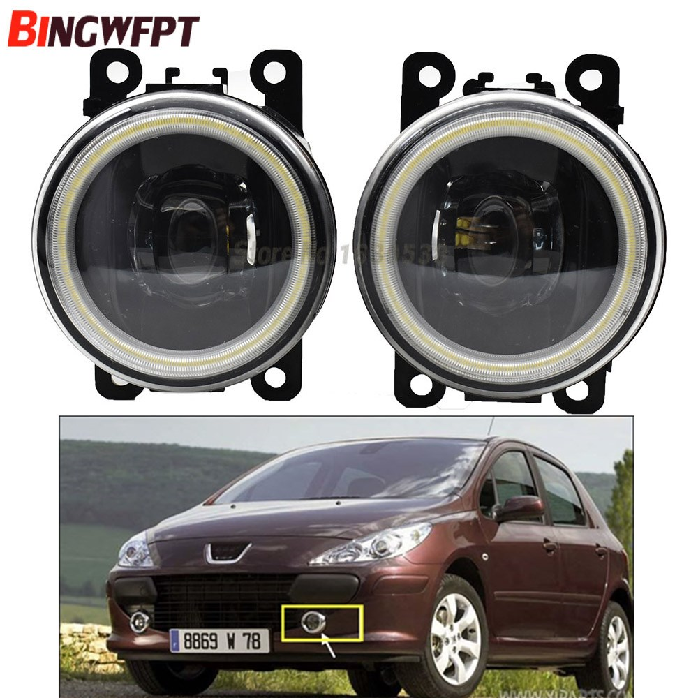2x Angel Eyes High Brightness front bumper LED fog light white For Peugeot 307 SW 3H