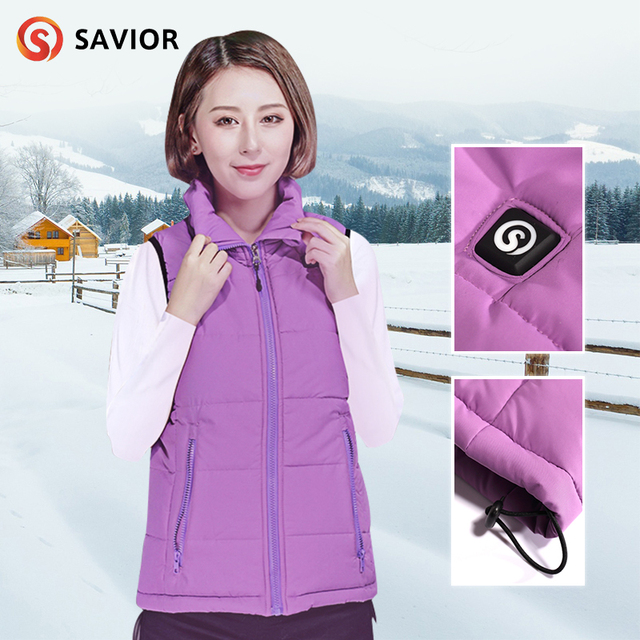 SAVIOR heated vest fishing hunting riding winter use health care back&breast heating area smart control female warming clothing