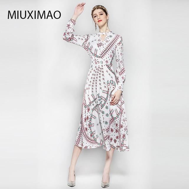 d0a338bb6f8 Alta calidad Nuevo 2018 moda mujer manga larga Vintage cuello pico  impresión Italia patrón geométrico vestido