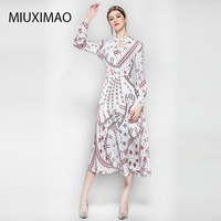 HIGH QUALITY New 2018 Fashion Women's Long Sleeve Vintage V Neck Print Italy Geometric Pattern Dress Elegant Brand Long Dress
