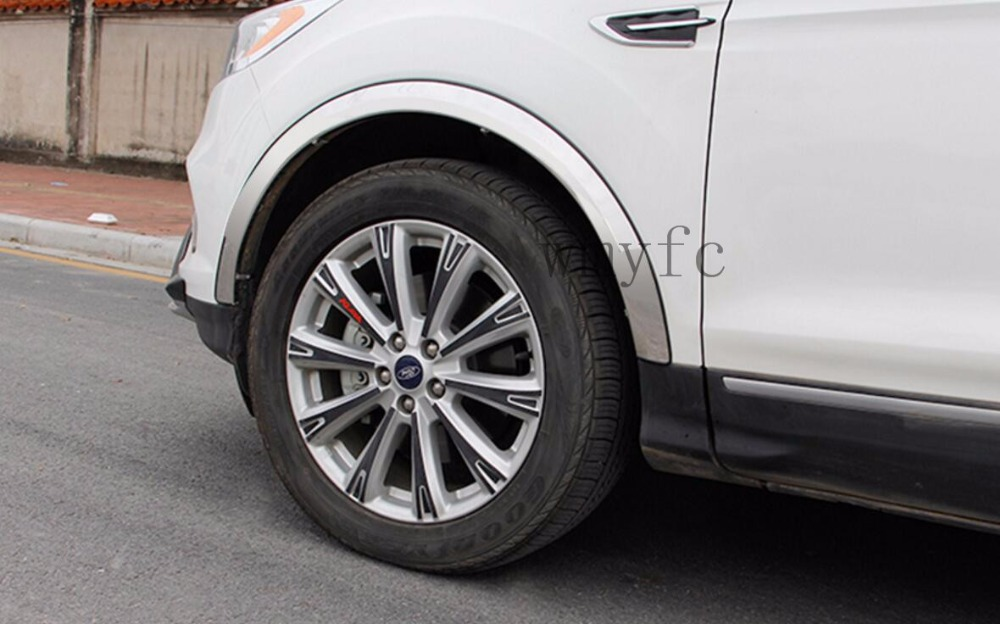 Car styling Wheel Eyebrow Decorative Wheel Arch Eyebrow Stripe for Ford kuga Escape2013 2014 2015 to 2017Car Wheel Modling Trims car styling auto roof rack side rails bars baggage holder luggage carrier aluminum alloy for ford escape kuga 2013 2014 2015