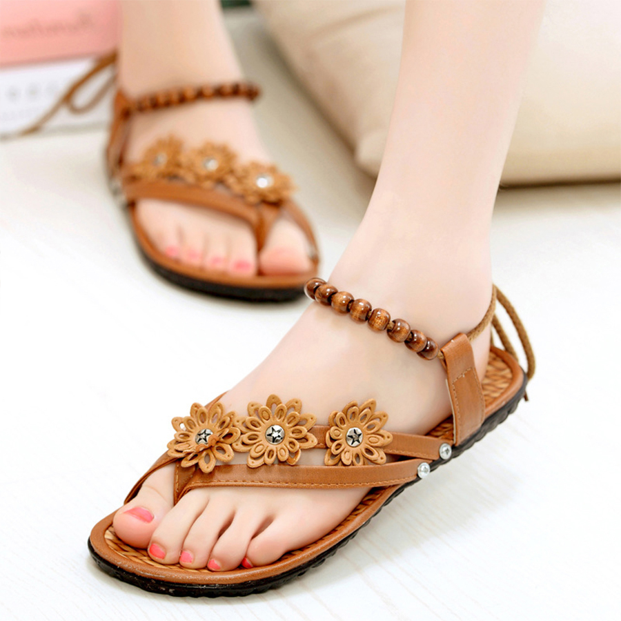 2017 Women Summer Flower Pattern Sandals Fashion Shoes Woman Beach Slippers Bohemian Roman Flats Women Flip Flops Ladies Sandals lanshulan bling glitters slippers 2017 summer flip flops platform shoes woman creepers slip on flats casual wedges gold