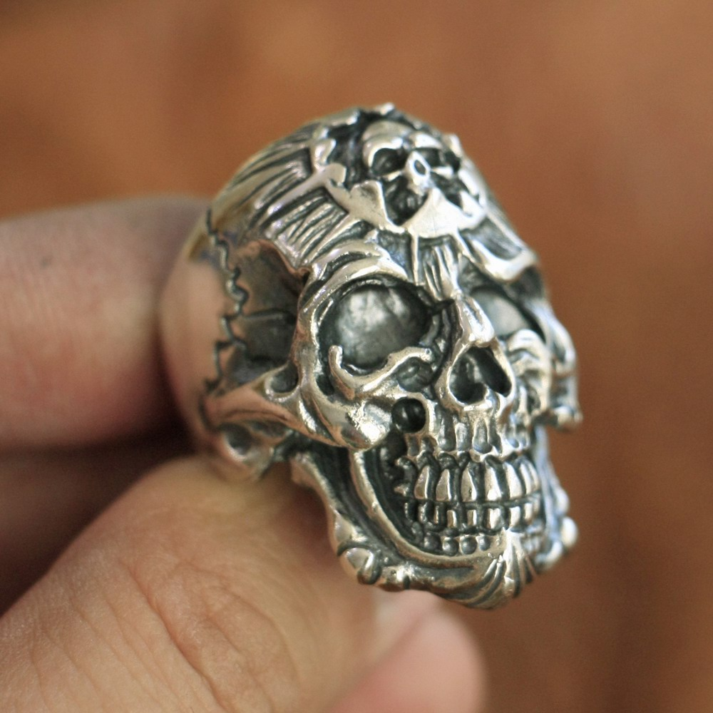925 Sterling Silver King of Hell Devil Skull Ring Mens Biker Punk Ring TA101A