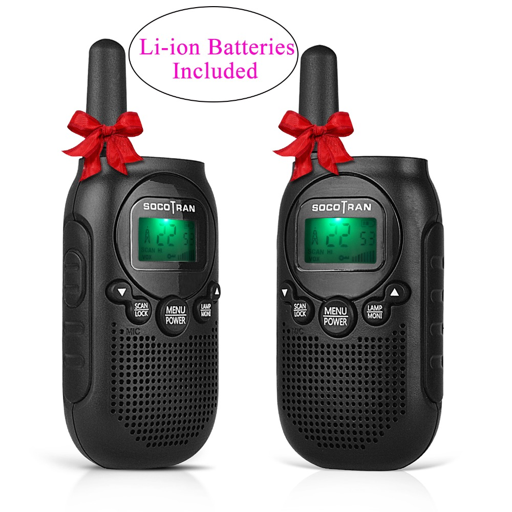 2pcs Mini Walkie Talkie Kids Radio Station License-free FRS/GMRS 0.5W 22CH VOX Two Way Radio With Rechargeable Li-ion Battery