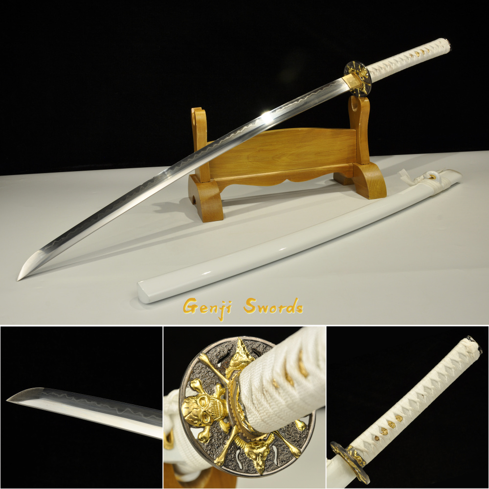 Handmade Full Tang Katana T10 Steel Clay-Tempered Real Japanese Samurai Sword Sharp Edge Can cut bambooHandmade Full Tang Katana T10 Steel Clay-Tempered Real Japanese Samurai Sword Sharp Edge Can cut bamboo