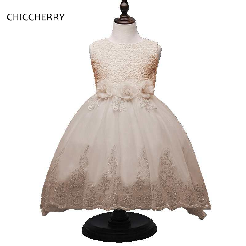 2017 New Flower Graduation Ball Gowns for Children Girl Brilliant Kids Wedding Lace Dress Vestidos De Fiesta Party Outfits 4pcs new for ball uff bes m18mg noc80b s04g