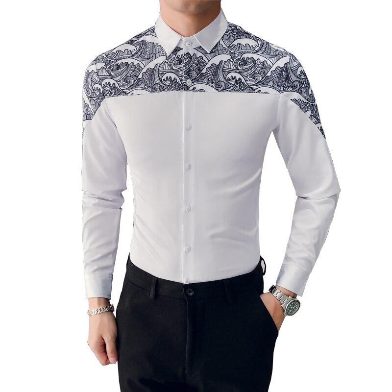 € 16.08 35% de DESCUENTO|Camisa coreana para hombre marca Slim Fit estampado Patchwork esmoquin Casual de camisas de manga larga fiesta de noche para