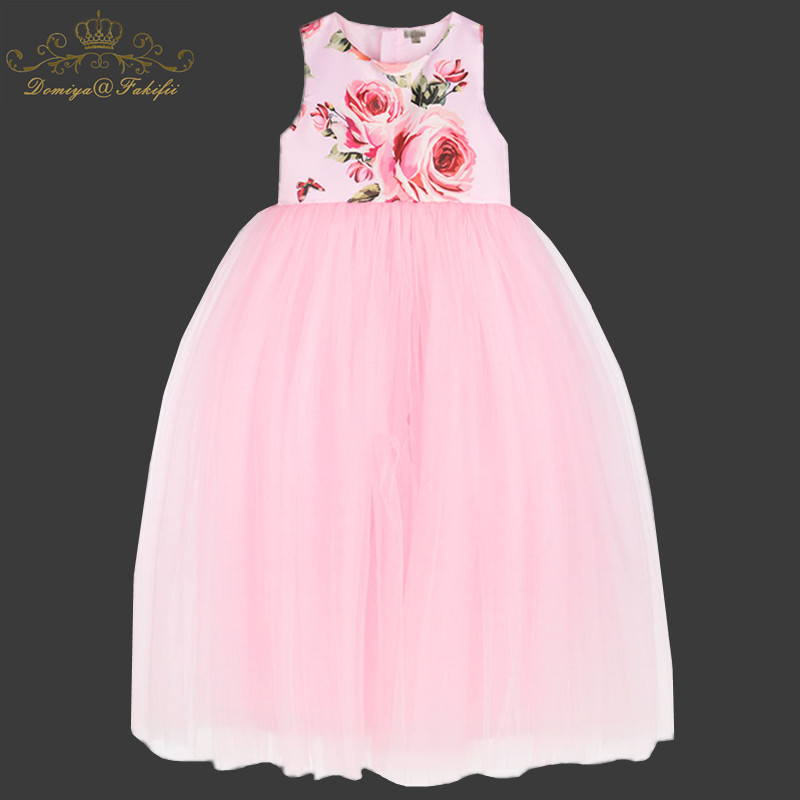 2-8y baby Clothing Summer Girl Princess Party Dress Kid Rose Print Satin Tutu Dress For Wedding Children Clothes 2018 Ball Gown flower girl dress for wedding party kids summer clothes children costume little princess girls clothing tutu baby prom ball gown