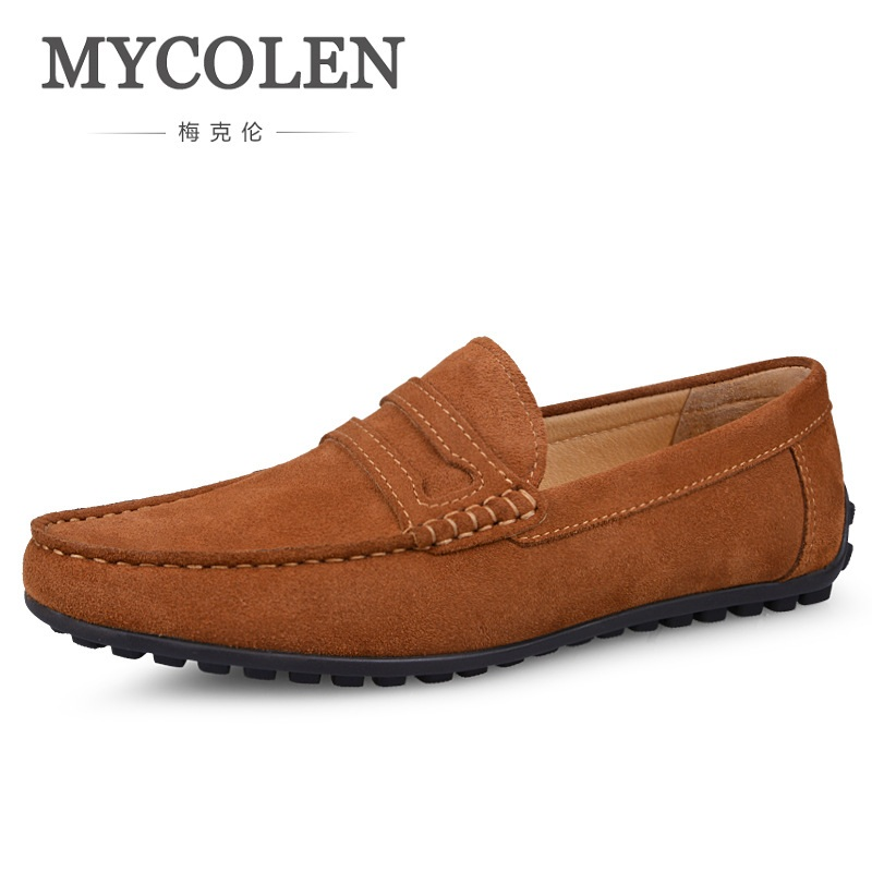MYCOLEN Spring Men Shoes Loafers Flats Moccasins Slip-On British Style Casual Business Shoes Luxury Leather Chaussure Homme branded men s leather loafers leisure casual suede leather shoes for men business slip on boat shoes moccasins penny loafers