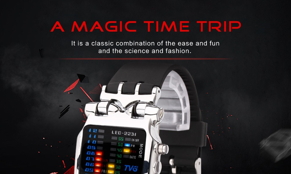 Luxury Brand TVG Watches Men Fashion Rubber Strap LED Digital Watch Men Waterproof Sports Military Watches Relogios Masculino 1