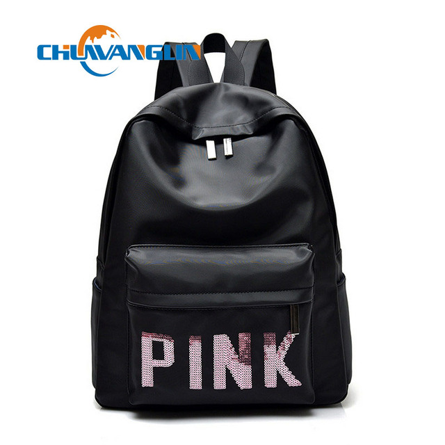 7cf674251659 Chuwanglin fashion pink sequins ladies shoulder bag high quality nylon  student bag large capacity travel bag laptop bag LYZ6012