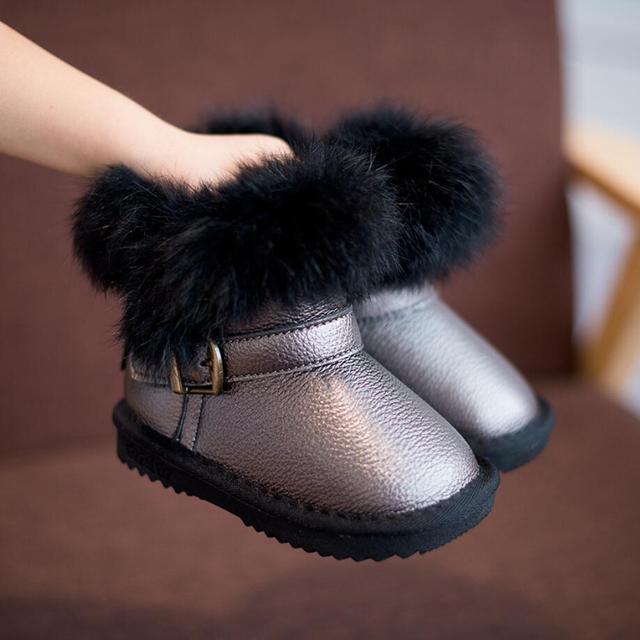 2016 Zapatos Calientes del bebé Niños Niñas Niños Botas de Nieve 1-2-3 años Los Niños Zapatos de Cuero zapatos de Estilo Clásico Conejo Tobillo