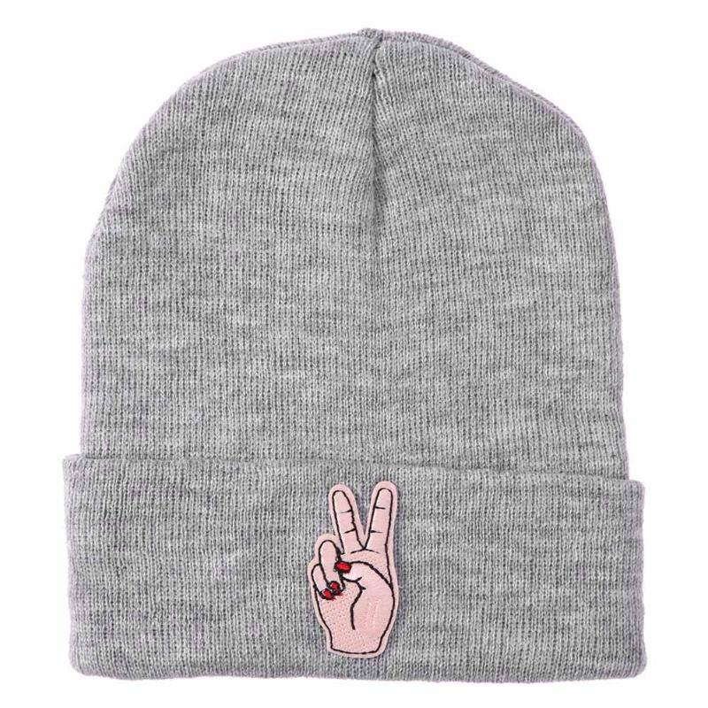 9ba2824ef76 Women Knitted Winter Caps Casual Embroidery Harajuku Fashion Beanies Solid  Hip-hop Hat Finger Skullies