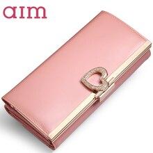 ZIEL 7 Farbe Große Kapazität Mode Leder Geldbörse für Frauen marke Trifold Rosa Kupplung Taschen Lange Geldbörse Weiblichen Telefon Karte halter