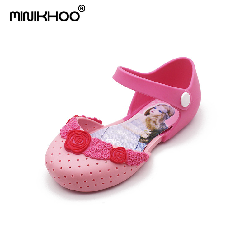 Mini Melissa 2018 Newest Barbie Princess Shoes Jelly Sandals Breathable PVC Beach Sandals Melissa Girl Jelly Shoes High Quality