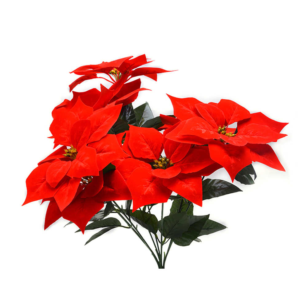 Real Touch Flannel Artificial Christmas Flowers Red Poinsettia Bushes Bouquets Xmas Tree Ornaments Centerpiece