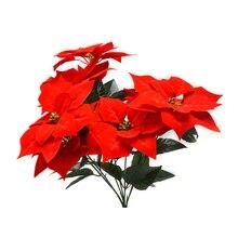 מגע אמיתי פלנל מלאכותי חג המולד פרחים אדום חלבלוב שיחי זרי חג המולד עץ קישוטי מרכזי
