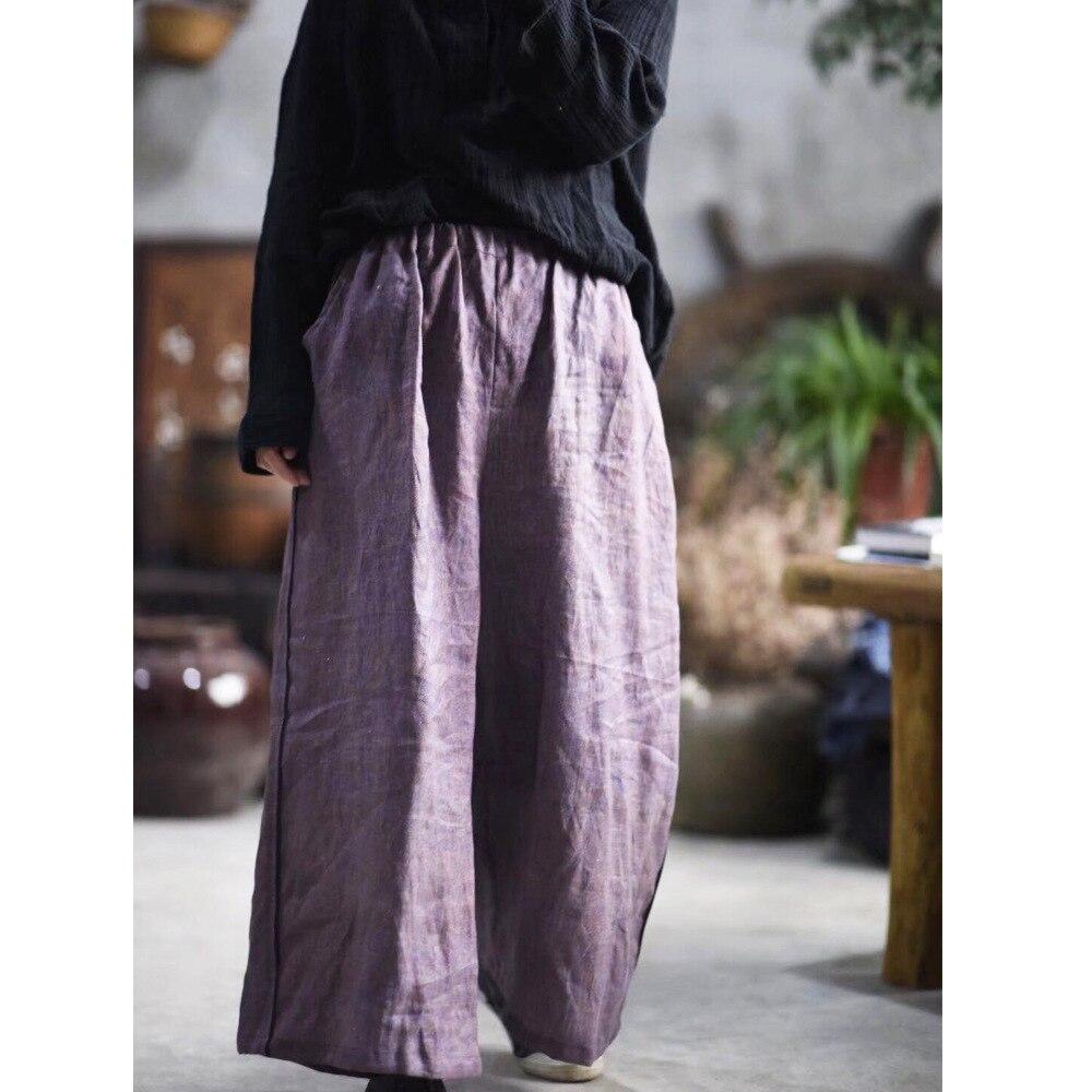 Femmes Large Patchwork Lin Simple Pourpre 2019 Taille Jambe Vintage Printemps Pantalon Femelle Dames En Elastique Bas 4qr4T8
