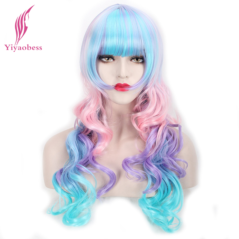 Yiyaobess 24inch Long Colorful Cosplay Wig Heat Resistant Synthetic Curly Pink Purple Green Ombre Wigs For The Dance ...