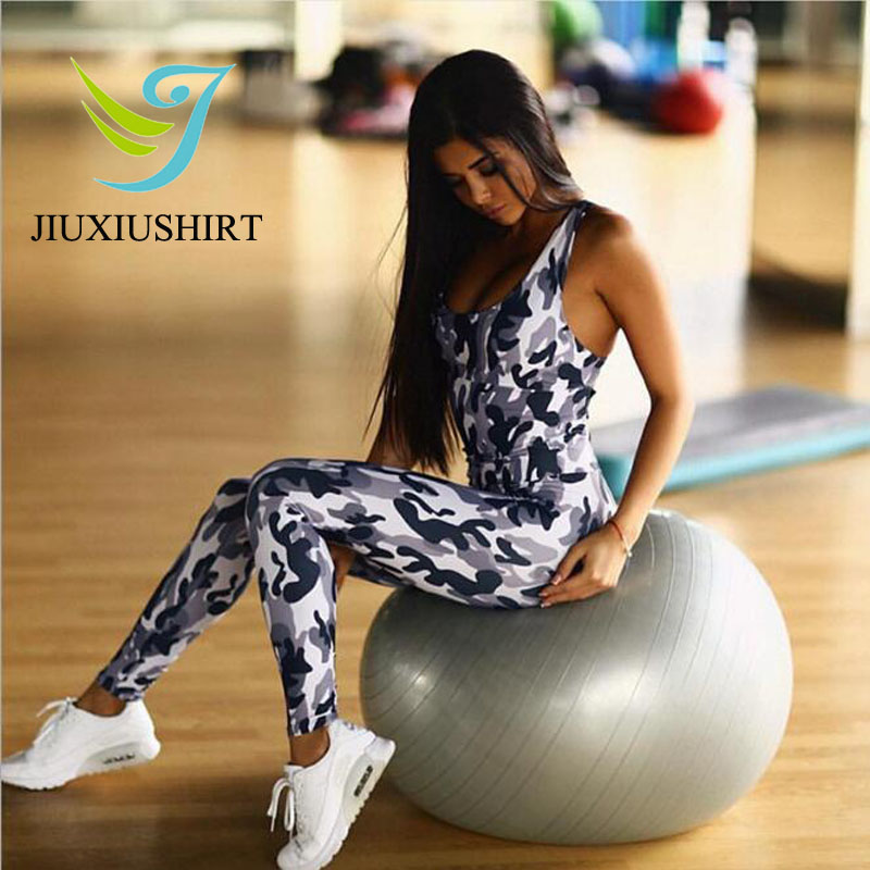 JINXIUSHIRT Sexy Camouflage Yoga Sport Suit Jumpsuit Women Gym Clothes Female Sportswear Quick Dry Fitness Tracksuit