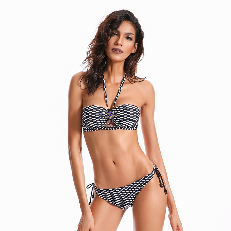 Halter Bikini Set Women Swimwear Grid Lattice Swimsuit Bandage Swimming Suit for Women Female Pendant Push Up Bathing Suit