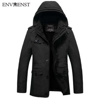 Envmenst 2017 NEW Winter Multi Pocket Jacket Plus Velvet Military Jackets Men Hooded Solid Color Thick