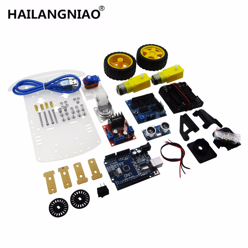 New Avoidance tracking Motor Smart Robot Car Chassis Kit Speed Encoder Battery Box 2WD Ultrasonic module For kit 2 wheel drive robot chassis kit 1 deck