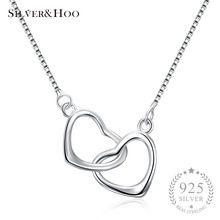 SILVERHOO Double Heart Design Pendant Necklace for Women Fine Jewelry Charm Lady Creative Party Gift 925 Sterling Silver