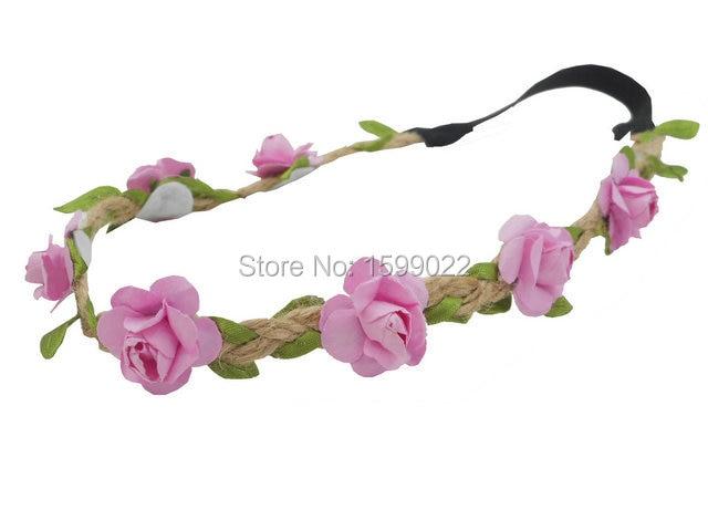 2pcs mori girl pink flower headband fairy head wreath child elastic 2pcs mori girl pink flower headband fairy head wreath child elastic hairband for women girls gypsy mightylinksfo