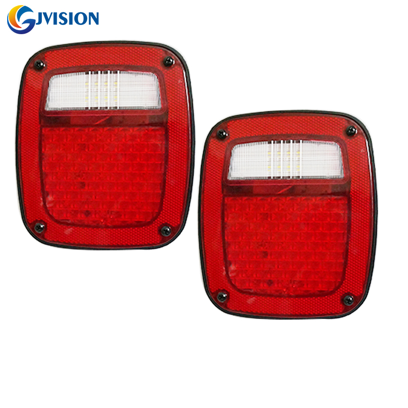 2PCS Square led taillight 12V Waterproof For Truck Trailer Boat Jeep TJ CJ YJ JK Stop Turn Tail LED Lights / Stud Mount windshield pillar mount grab handles for jeep wrangler jk and jku unlimited solid mount grab textured steel bar front fits jeep