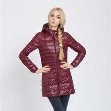 Snowka Female Warm Winter Jacket Women Coat Thin Brand 90% White Duck Down Parka Ultra-light Down Jacket Long Elegant Outwear