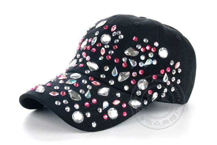 Высокое качество оптом и в розницу JoyMay шляпа Кепки Мода Досуг Стразы хлопковые цветные детские носки кепки в горошек летние Бейсбол Кепки B226 - Цвет: Black