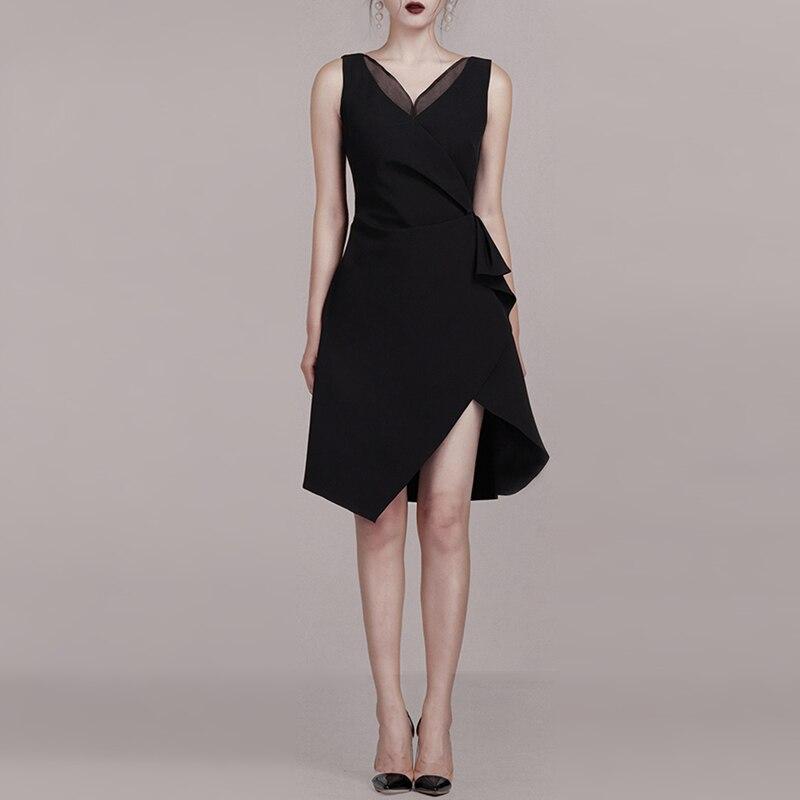 INDRESSME 2019 新しい女性はセクシーなディープ V ネックノースリーブ非対称裾ミニドレスレディーパーティークラブドレス  グループ上の レディース衣服 からの ドレス の中 3