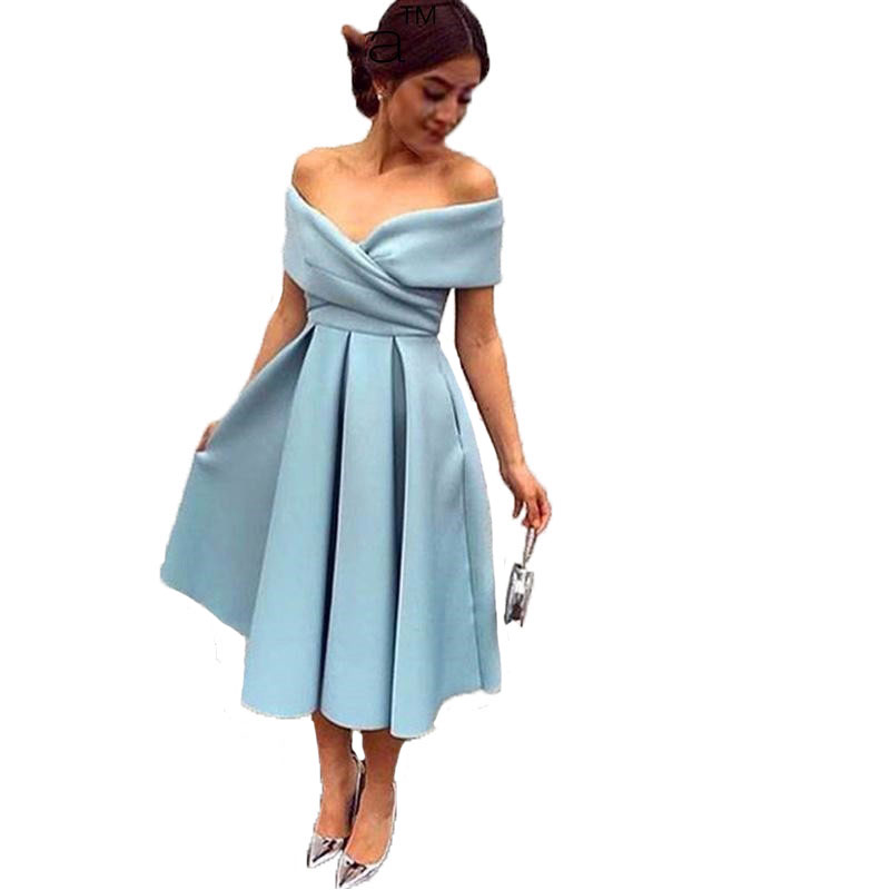 Popular Plus Size Tea Length Dress Blue-Buy Cheap Plus Size Tea ...