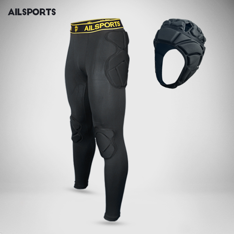 Hommes football football formation pantalon sécurité dans les sports éponge épaissir gear gardien rugby pantalon genouillères coude genouillères protecteur