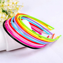 AKWZMLY 10pcs lot Cute Adult Kids Hair Head Candy Color Hoop Band Headband Satin Covered Hairband