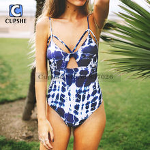 CUPSHE Snowy Night Tie-dyed One-piece Swimsuit Summer Sexy Swimsuit Ladies Beach Bathing Suit swimwear(China)