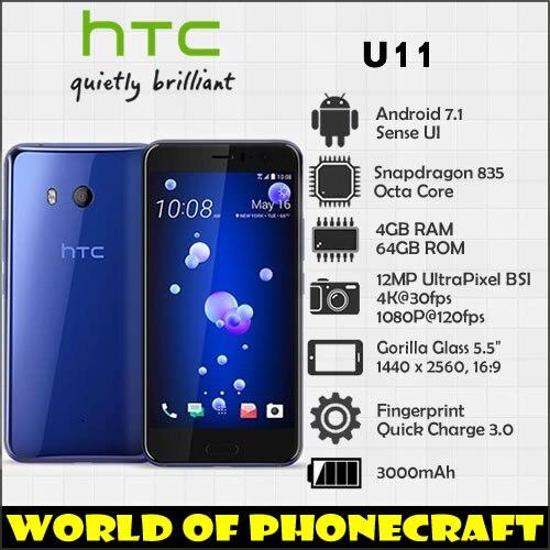 HTC U11 Snapdragon 835 Octa Core 4 GB RAM 64 GB ROM 12MP Caméra NFC Nano Unique SIM Rapide Chargeur 3.0 smartphone