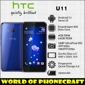 HTC U11 4 GB RAM 64 GB ROM Camera NFC Nano Single SIM Rapid Charger 3.0 smartphone