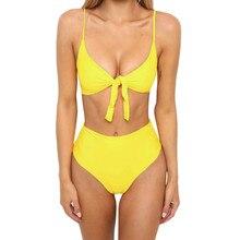 Womens Bikini Set Swimsuit High Waist Ladies Bathing Suit Swimwear Beachwear Ladies split solid high waist bikini piece swimsuit